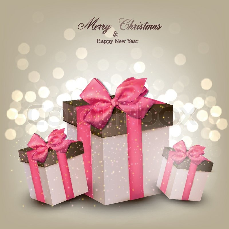 Leuchtende Weihnachten Hintergrund mit Geschenk-Boxen | Vektorgrafik ...