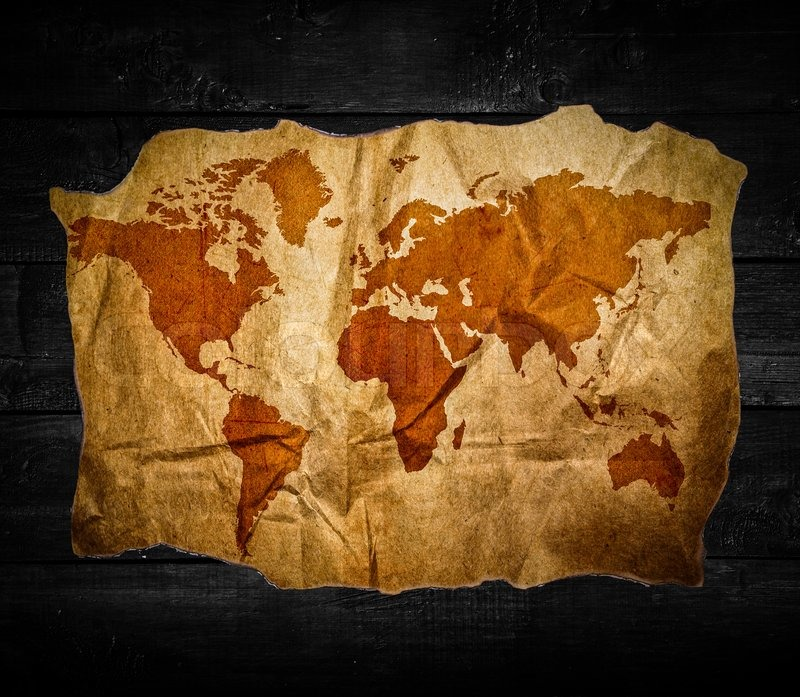 Antique world map in black wooden background stock photo colourbox gumiabroncs Image collections