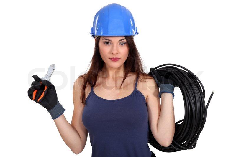 Sexet kvindelig elektriker | stock foto | Colourbox