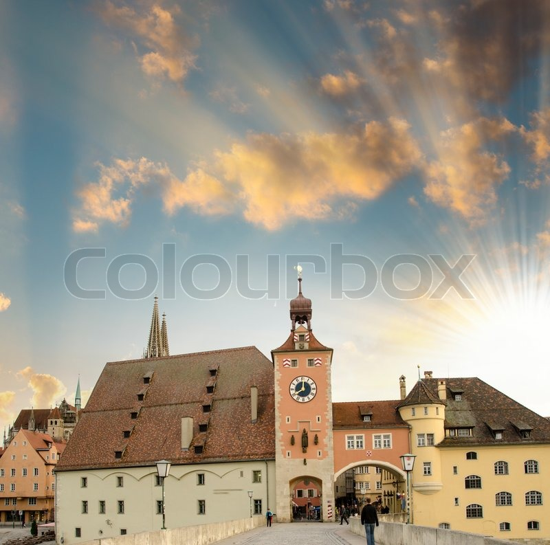 Medieval town. Ancient buildings on a classic middle-age city, stock photo