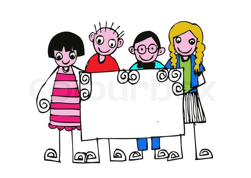 Cute happy cartoon kids Vector Colourbox