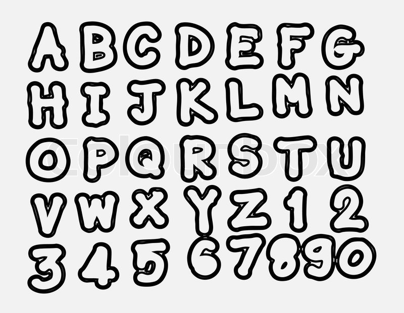 Vector Real Hand Drawn Letters Font Written With A Pen