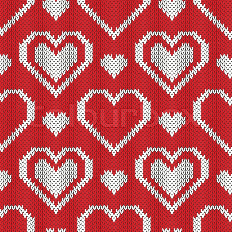 Seamless knitted sweater pattern with hearts Stock ...