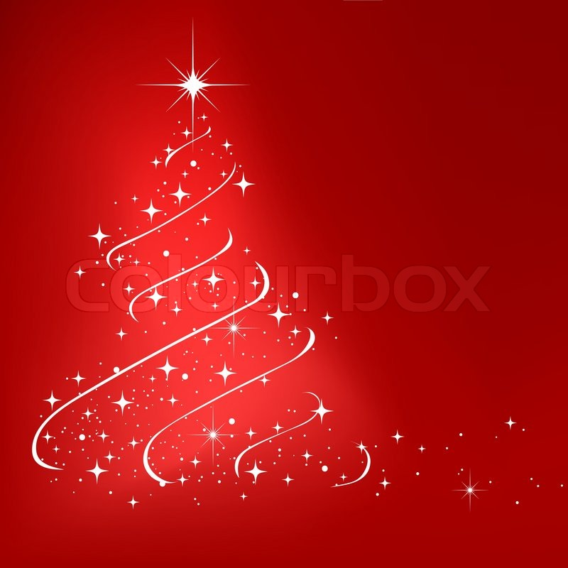 red abstract winter background with stars christmas tree stock vector colourbox