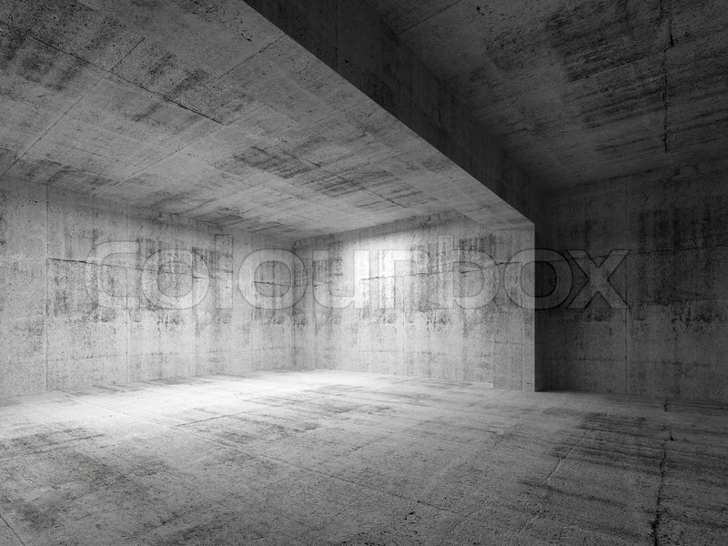 leere dunklen abstrakten konkreten raum interior 3d render stockfoto colourbox. Black Bedroom Furniture Sets. Home Design Ideas