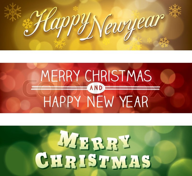 merry christmas and happy new year vector bokeh background banner stock vector colourbox