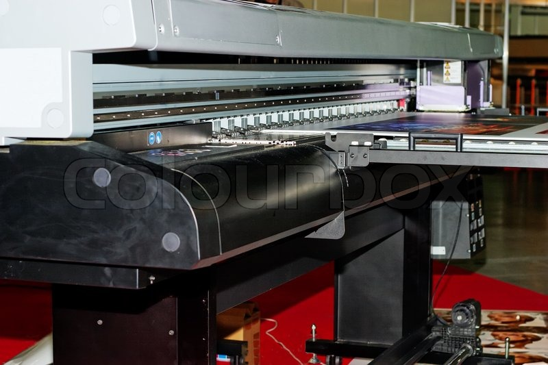 Industrial large format UV inkjet printer for printing on big sheets of plastic, stock photo