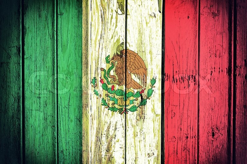 Official Mexican flag on the wooden background | Stock Photo ...