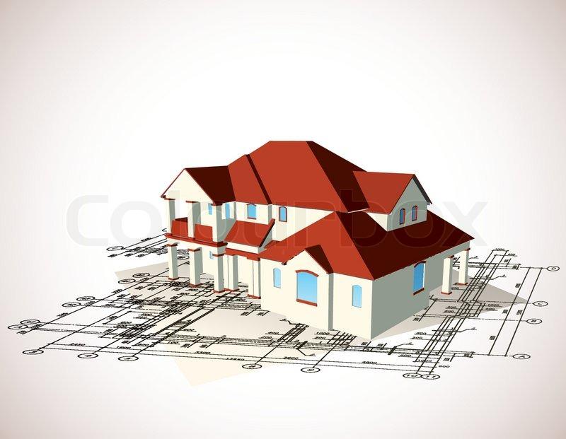 architectural haus vector technischen ziehen vektorgrafik colourbox. Black Bedroom Furniture Sets. Home Design Ideas