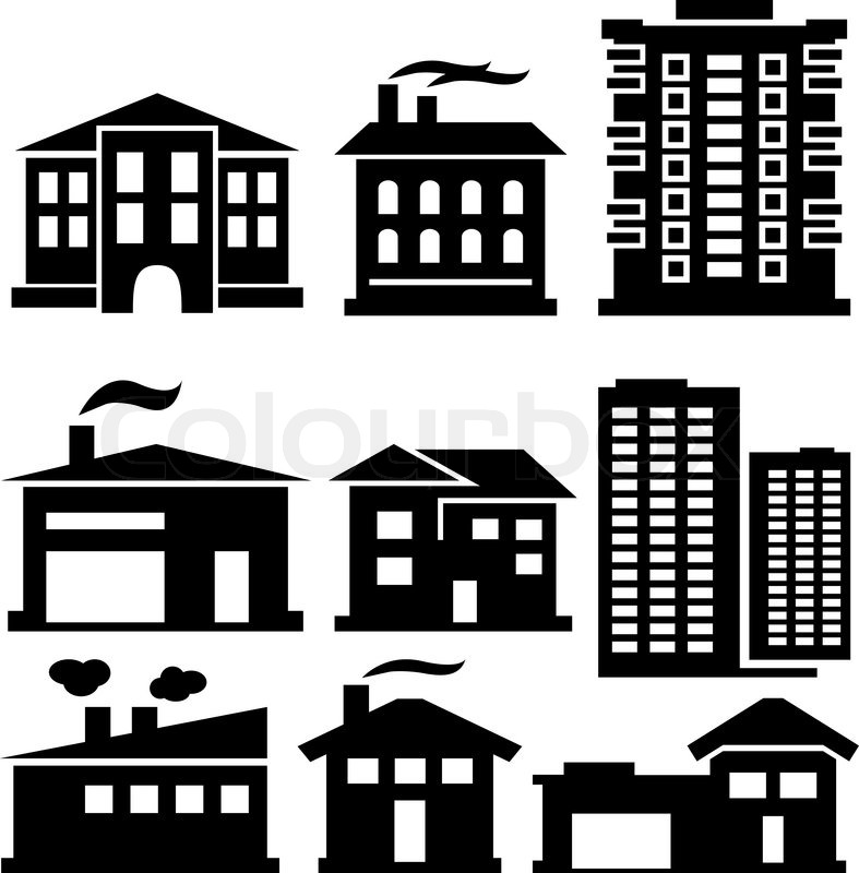 vector set of various buildings | stock vector | colourbox