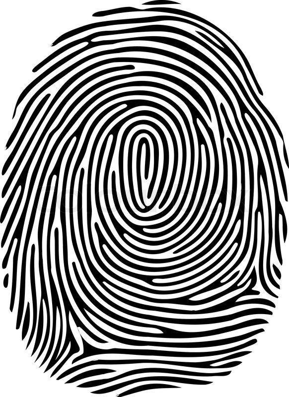 Vector black isolated fingerprint on white background ...