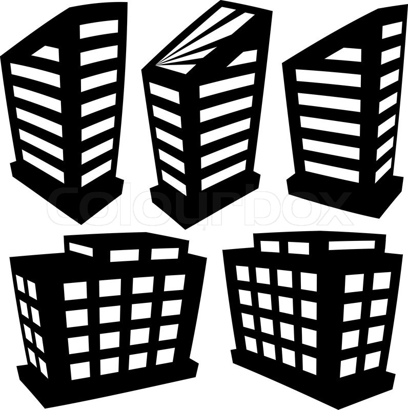Vector buildings silhouettes on white background Stock Vector Colourbox - Favorite House Plans