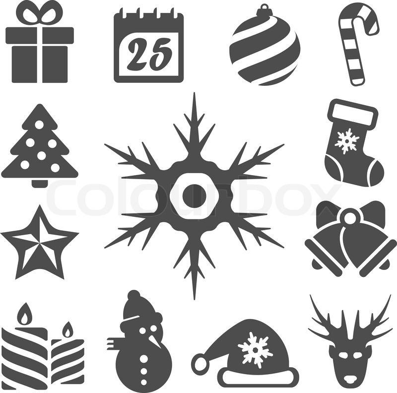 vector isoliert weihnachten symbole gesetzt vektorgrafik