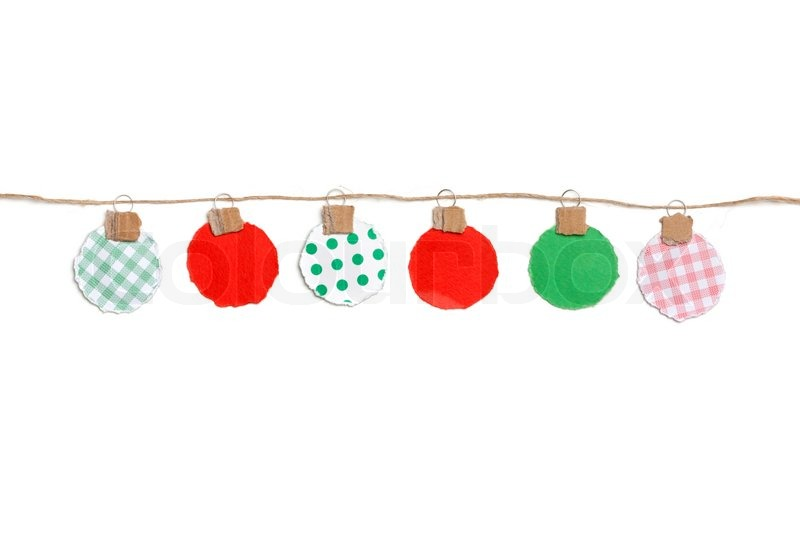 Paper tear christmas ornaments baubles on a string stock photo colourbox - String ornaments christmas ...