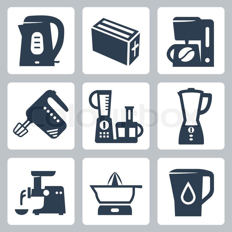 Vector kitchen appliances icons set vector colourbox for Kitchen set vector