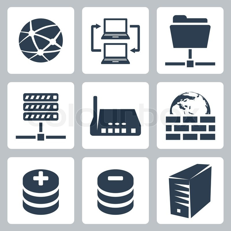 Vector Isolated Computer Network Icons Set Stock