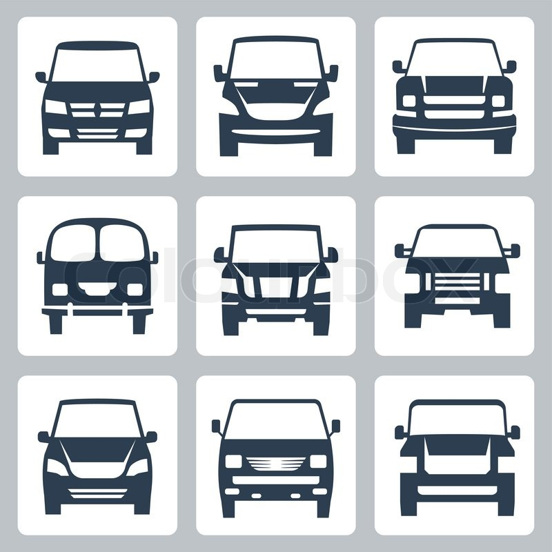 Vector van icons set: front view | Stock Vector | Colourbox
