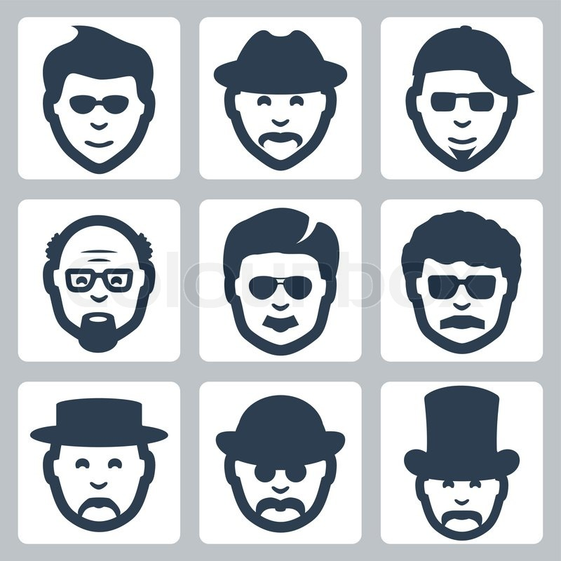 647d7999d68aa Vector isolated male faces icons set
