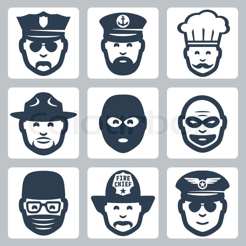 Vector avatar/profession/occupation icons set: police officer, captain, chef, ranger, anti-terrorist, robber, surgeon, fireman, pilot, vector