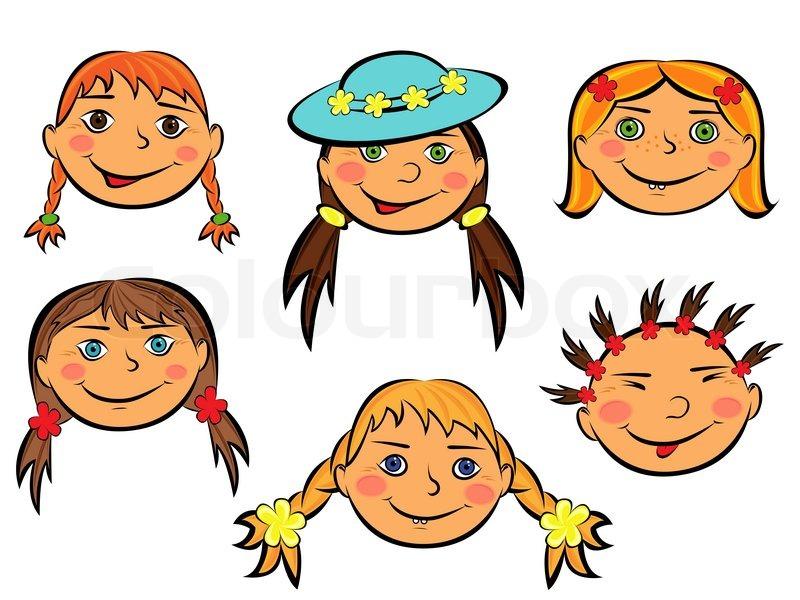 Rostros De Niños Animados: Set Of Six Funny Girls Faces