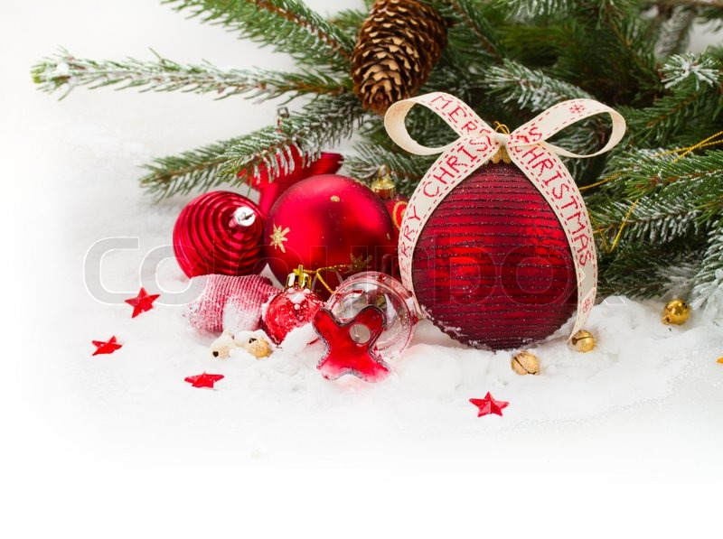 Fir Tree And Red Christmas Decorations Stock Photo