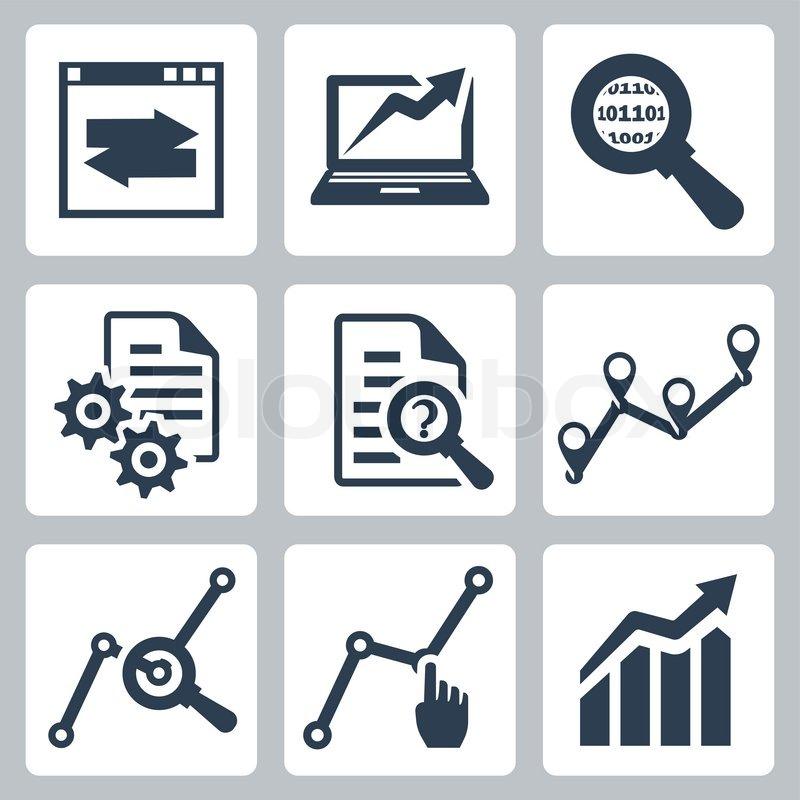 Vector data analysis icons set | Stock Vector | Colourbox