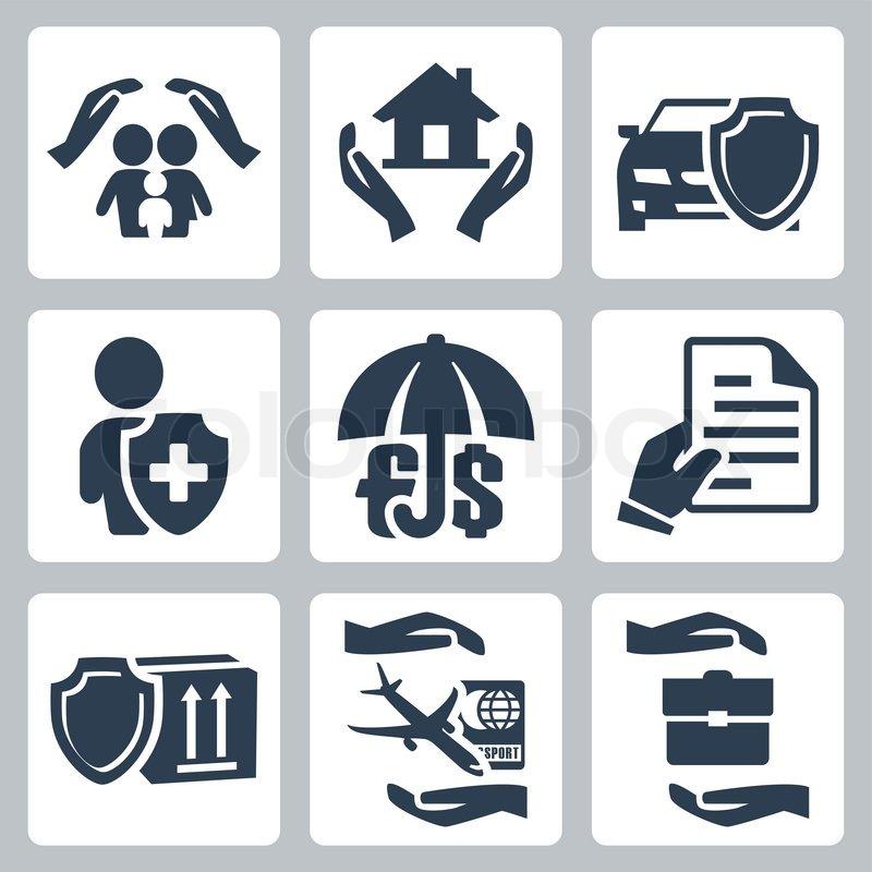 vector versicherung icons set familie. Black Bedroom Furniture Sets. Home Design Ideas