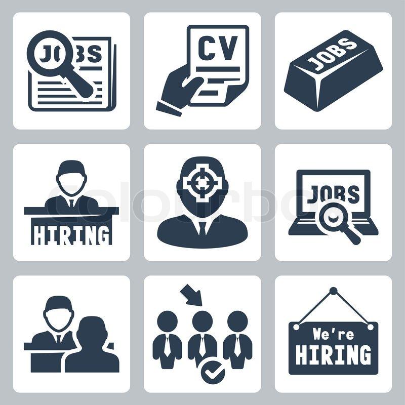 Vector Job Hunting Job Search Human Resources Icons Set