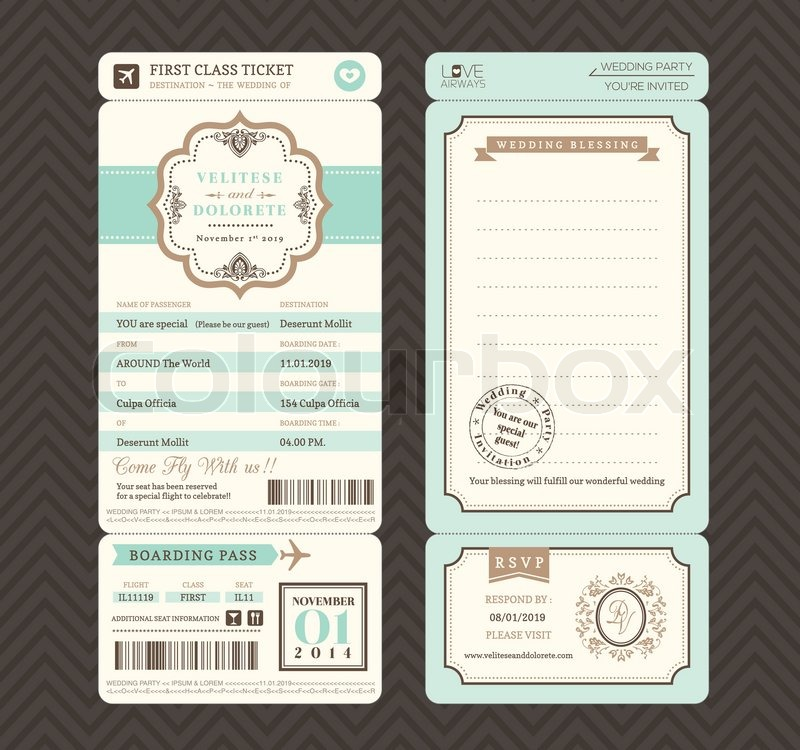 Vintage Style Boarding Pass Ticket Wedding Invitation Template Vector |  Stock Vector | Colourbox  Free Printable Ticket Style Invitations