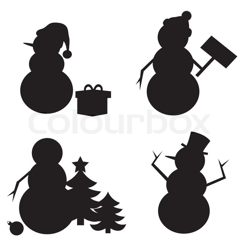 Snowman Silhouette isolated on white background. | Vector | Colourbox