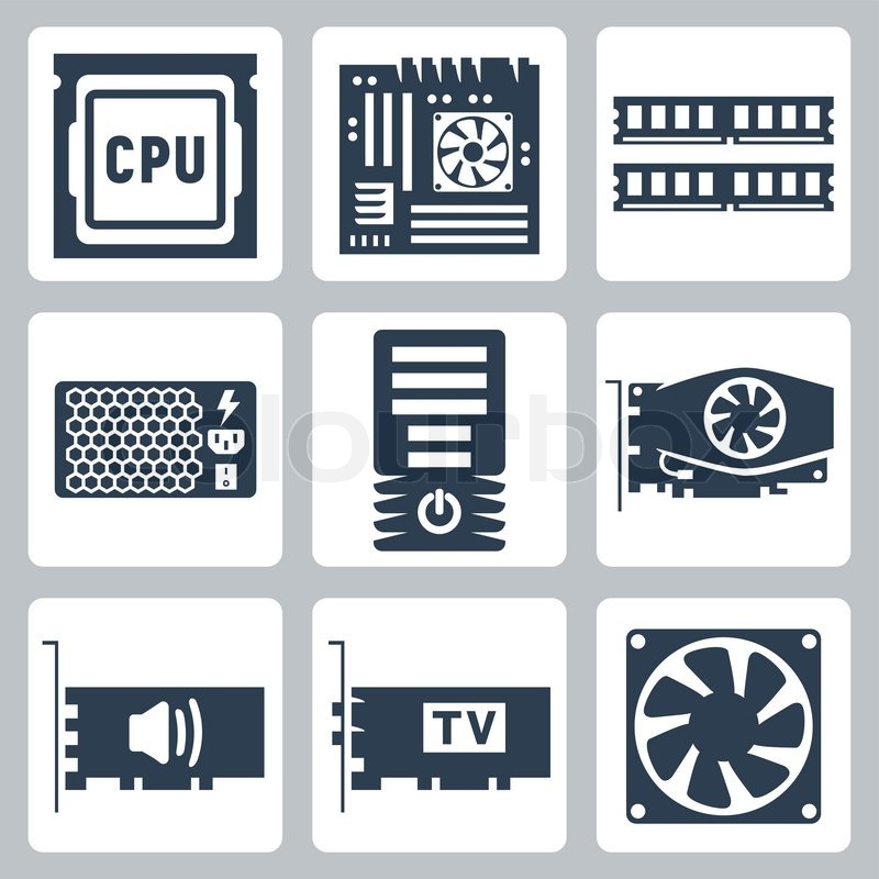 Vector Hardware Icons Set Cpu Motherboard Ram Power