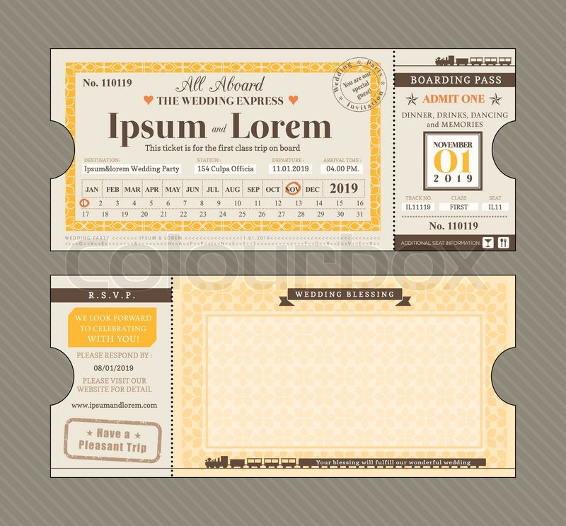 Vector Train Ticket Wedding Invitation