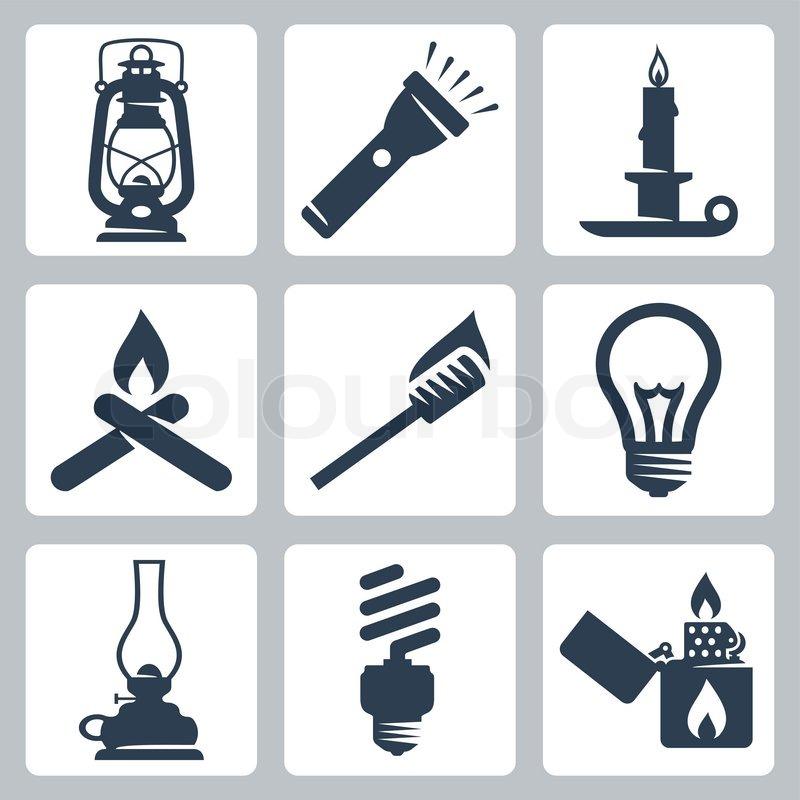 Vector Licht und Beleuchtung Geräte icons set : Laterne ...