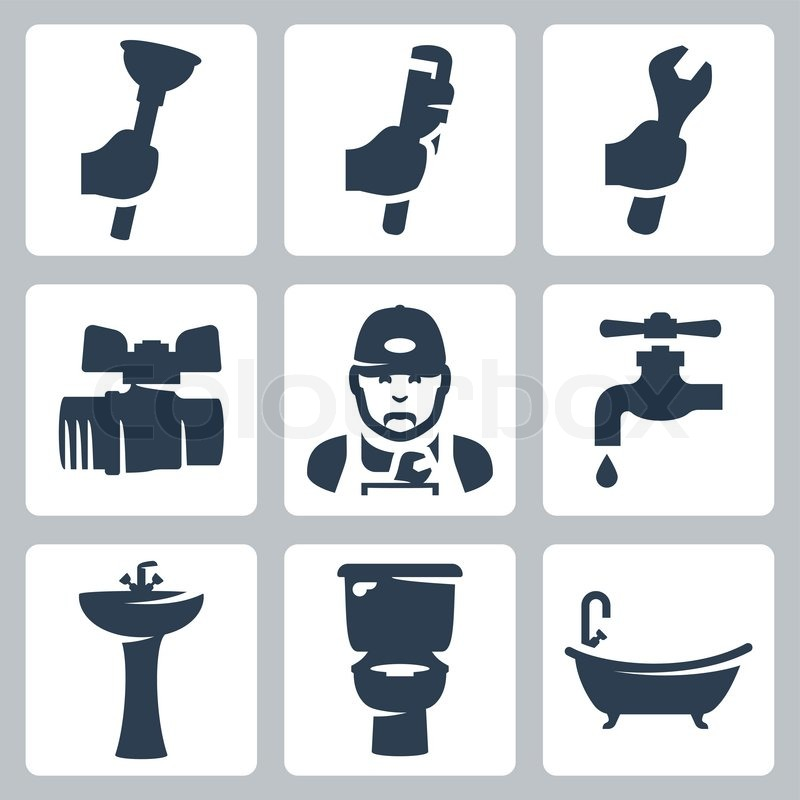 Vector plumbing icons set: plunger, adjustable wrench