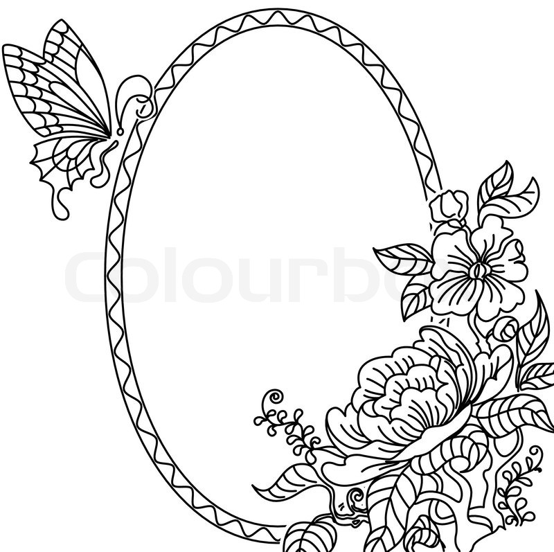 peony and butterfly frame bw stock vector colourbox - Drawing Frame
