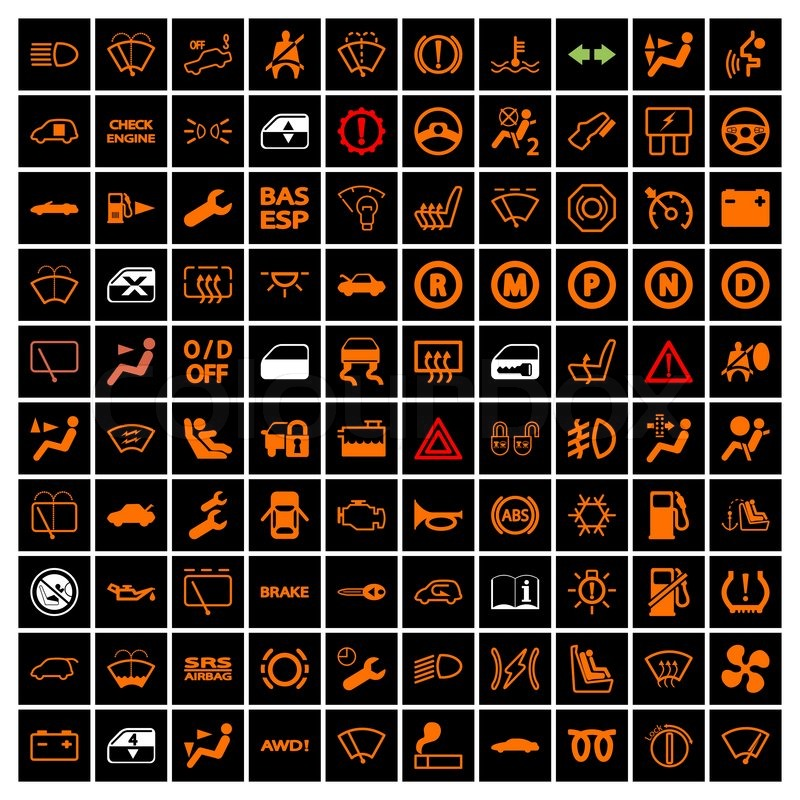 Car Dashboard Icons Vector Illustration Vector Colourbox