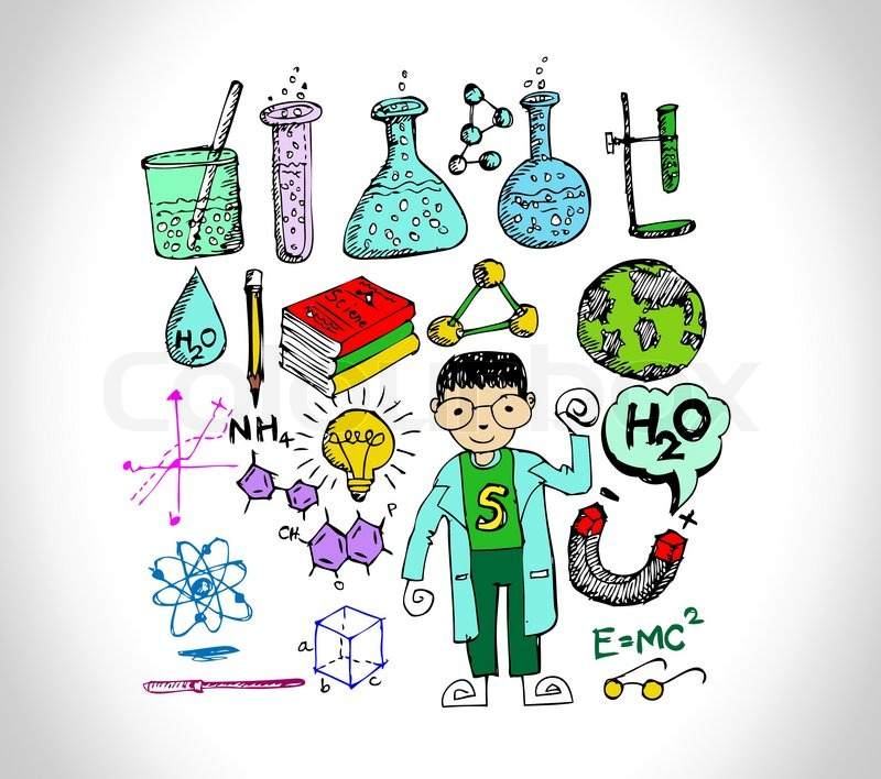 science object in doodle style design stock vector colourbox