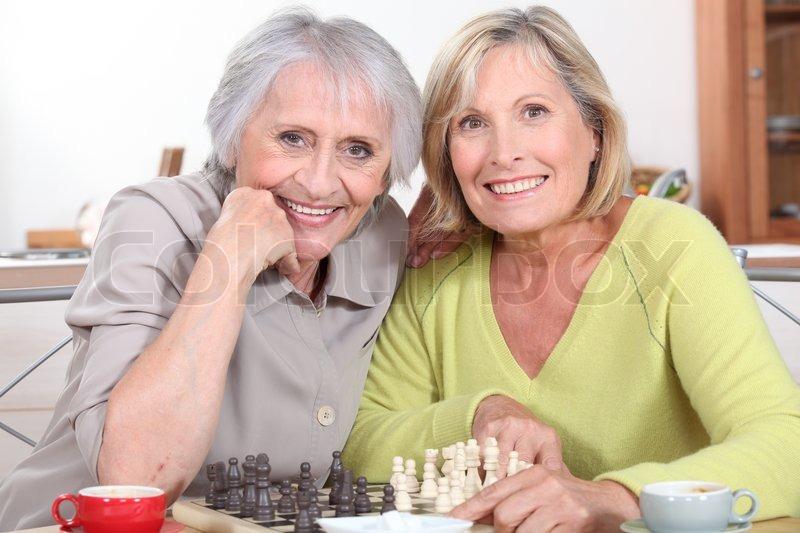 Mature women playing