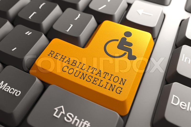 Rehabilitation Beratung für Behinderte auf Knopf | Stockfoto | Colourbox