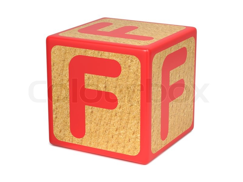 Letter F On Red Wooden Childrens Stock Image Colourbox