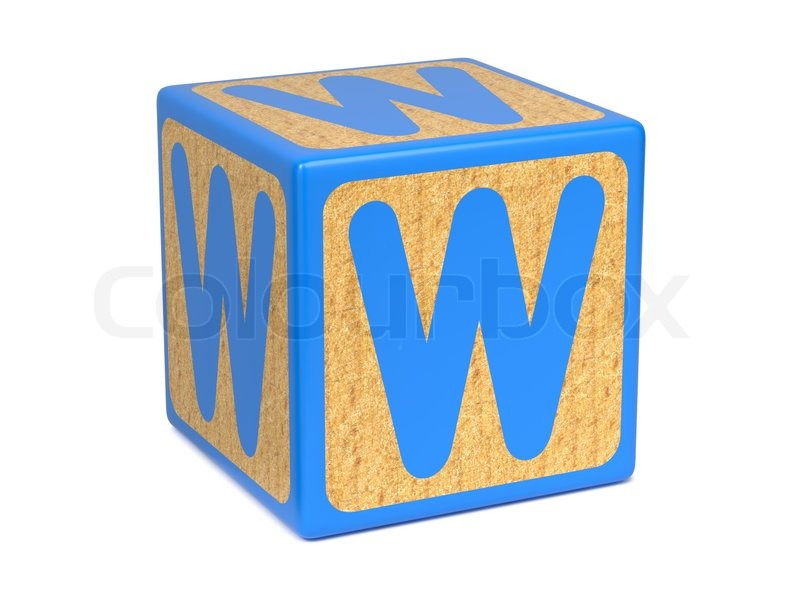 letter w on childrens alphabet block stock photo