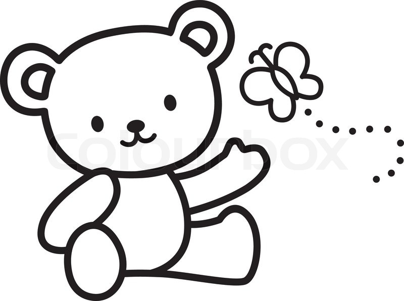 Stock vector of illustration of very cute teddy bear with butterfly