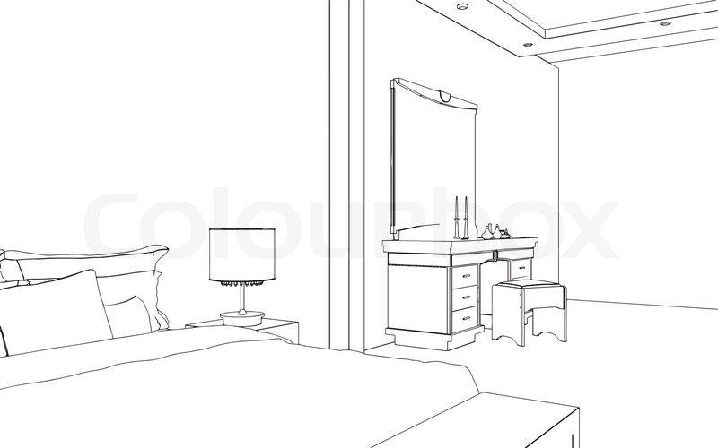 Bearbeitbare vektor illustration ein umriss skizze eines for Innenraum design programm kostenlos