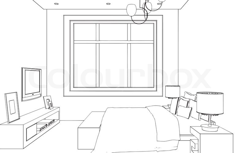 Editable vector illustration of an outline sketch of a for 3d bedroom drawing