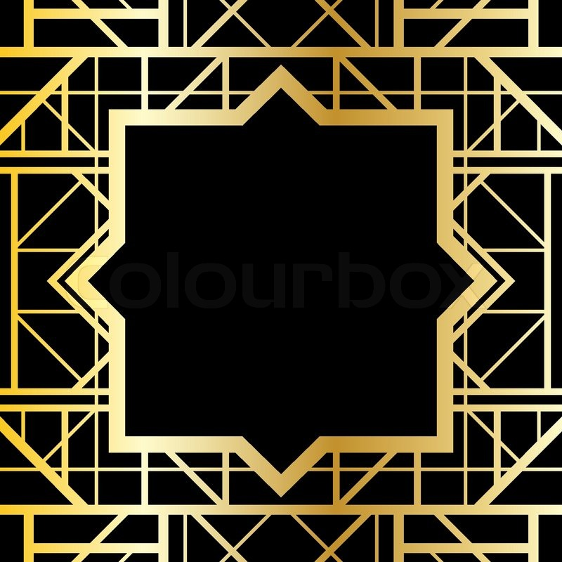 Art deco geometric pattern 1920 s style stock vector colourbox - Art Deco Style Border Frame Royalty Free Stock Vector Art