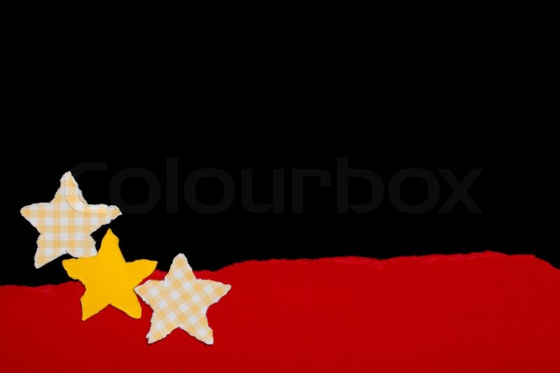 Little Stars on Black Background, Paper Tear, Christmas Theme, stock photo