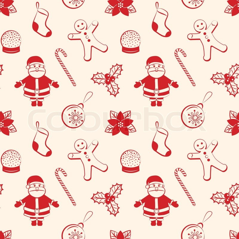 Stock vector of 'Red christmas seamless background with Santa, ball,  gingerbread, poinsettia