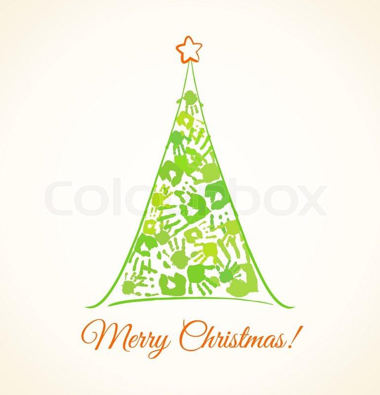 gr nen weihnachtsbaum hergestellt aus der handabdr cke. Black Bedroom Furniture Sets. Home Design Ideas