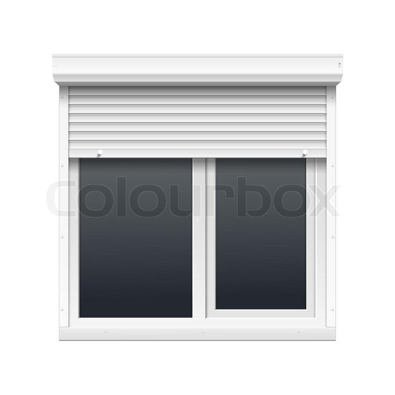 vector vindue med rulleskodder stock vektor colourbox. Black Bedroom Furniture Sets. Home Design Ideas