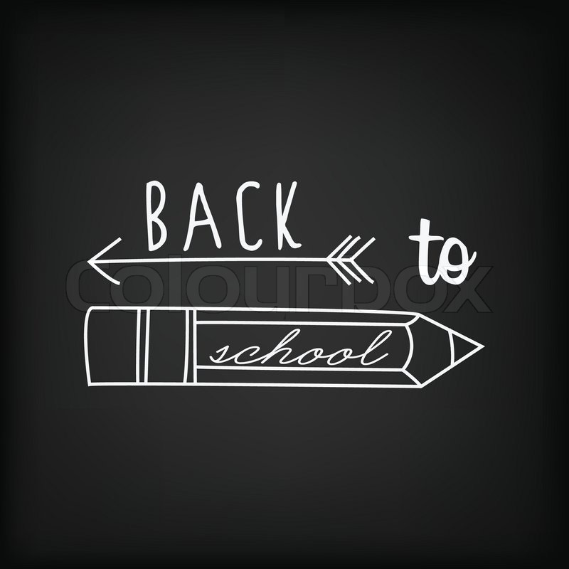 Back To School Typography Background On Blackboard With ...